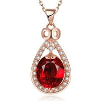 """Luxury 6.15 Ct Ruby Pear Cut Pendant Necklace 18K Rose Gold Plated 18"""" Chain"""