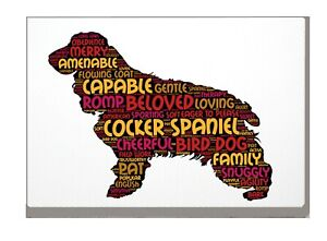 Cocker Spaniel Art Print Word Art A4 A3 Mothers Day Gift Personalised Option