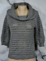 NEW YORK & COMPANY NYC Sparkly Gray Cowlneck Sweater Small 3/4 Sleeves Unlined