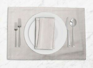 S4Sassy Stripe & Leaves Everyday Placemats With Napkins Table Decor-LF-645J