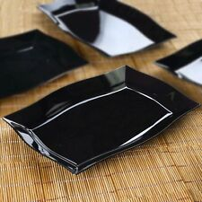 "10/pk  Black 8"" x 11.5"" Rectangle Wave Disposable Plastic Plate  Cater"