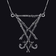RESTYLE LUCIFER SIGIL ANTIQUE SILVER STYLE PENDANT. BRANCH SYMBOL. OCCULT.
