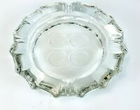 Vintage Clear Beveled Large Glass Ashtray with Frosted Americana Symbols