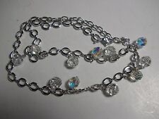 """Swarovski® signed Swan silver clear crystal 11 round beads ball Necklace 16"""""""