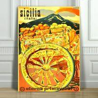 "VINTAGE TRAVEL CANVAS ART PRINT POSTER - Sicilia Italia - Yellow Wagon - 24x16"""