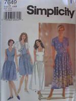 7649 Vintage Simplicity SEWING Pattern Misses Jacket Full Skirt Dress UNCUT OOP