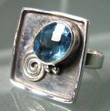 Plata 925 Corte Verde De Fluorita anillo de piedras preciosas del Reino Unido M ½ - ¾ / nos 6.75