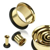 PAIR Gold Plated Single Flare Tunnels Ear Plugs Earlets Gauges
