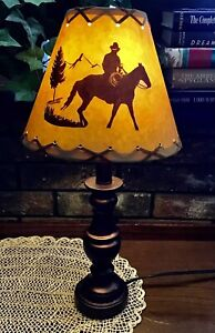 """Rustic Western Clip-On Shade For Table Lamp Cowboy Horse Rawhide Lacing 9x4x7"""""""