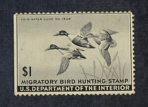 CKStamps: US Federal Duck Stamps Collection Scott#RW12 $1 Mint H OG Crease Thin