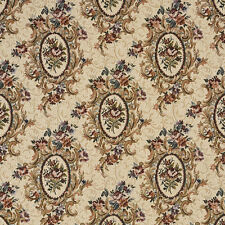 F665 Burgundy Beige Green Floral Bouquet Tapestry Upholstery Fabric By The Yard