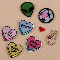 8Pcs Embroidery Alien Heart Sew Iron On Patch Badge Bag Clothes Fabric App L0C0