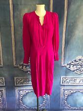 Vintage 80s John Weitz Magenta Silk Pleated Shift Shirt Dress XS Bishop Sleeve