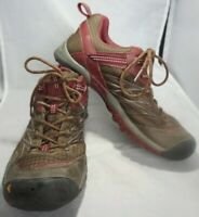 Keen Brown Maroon Womens Lace Up Hiking Shoes Outdoors Size 8.5