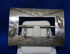 Antique Rare Shiebler Sterling Silver Fish Bug Beetle Insect Belt Buckle 1051
