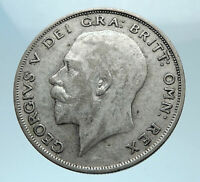 1923 Great Britain United Kingdom UK King GEORGE V Silver Half Crown Coin i78156