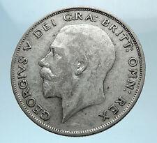 1923 Great Britain United Kingdom UK King GEORGE V Silver Half Crown Coin i78156