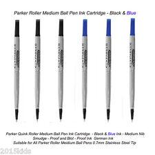 6 Parker Roller Ball Rollerball Pen Refill Medium Nib 3 Black+3 Blue Ink US Sell