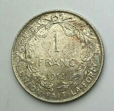 Dated : 1913 - Silver Coin - Belgium - One Franc - 1 Franc - Albert I