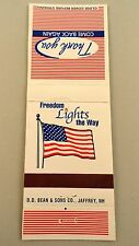 Matchbook Cover ~ FREEDOM LIGHTS THE WAY American Flag Thank You Rear Strike 20