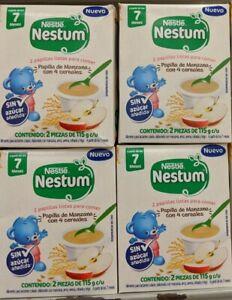 X4 Nestle Nestum 2 papillas listas para comer Manzana y 4 Cereales bebé 7 meses+