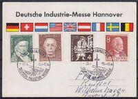 Bund Mi Nr. 204, 198, 200 Berlin 94 mit SST Hannover 1955 auf Messe Karte