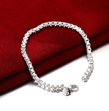 "8"" Mens Womens 925 Sterling Silver Box Link Chain Bangle Fashion Bracelet #B326"