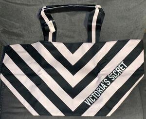 Victoria Secret Logo Getaway Weekender Travel Tote PINK/BLACK Stripes 👜NWT!!