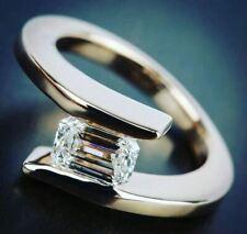 Engagement Ring 925 Sterling Silver 2Ct Emerald White Moissanite Half Bezel