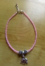 Pink bead anklet/ankle bracelet beach, summer,funky with elephant