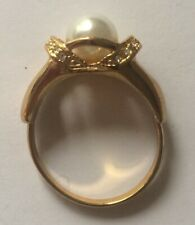 Gold Plated, Faux Pearl & Diamonte Stone,  Ring, UK Size R