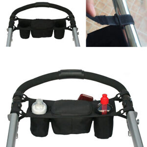 Pram Buggy Organiser Pushchair Stroller Storage Cup Holder Bag Rack Kids Baby