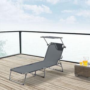 Sonnenliege Gartenliege Strandliege Transportliege Stahl Liege Sonnendach Grau