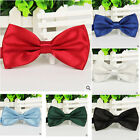 Classic Black Bowtie Solid Color Neckwear Men's Adjustable Tuxedo Bow Tie Gift