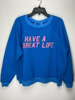 Wildfox Couture Womens Have A Great Life Pullover Sweater Blue