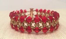 Chainmaille Bracelet Gold Filled with Red Crystals. 7 In.