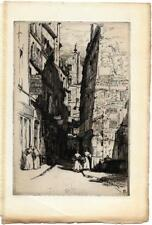 Herman-A. WEBSTER Rue Brise-Miche en 1900 Eau-forte originale Gazette Beaux-arts