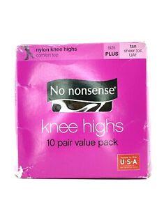 No Nonsense 10 Pair Pack Comfort Top Tan Plus Size Nylon Knee Highs