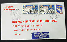 France Airmail Cover rehon usa union Dual stamp France Lupo lettre (h-8544