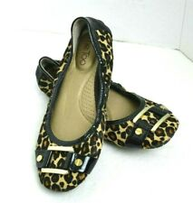 a8dd4b07c021 ME TOO ANIMAL PRINT FUR Genuine Leather Womens Shoes Flat BALLET Size 6.5 M