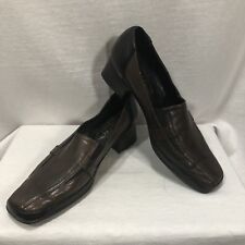 Amalfi by Rangoni Brown Leather Women 7.5 B Small Heel Slip On Stretch