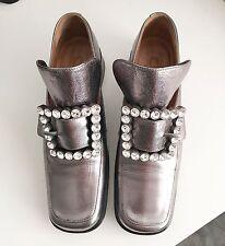 Marc Jacobs Runway Metallic Silver Crystal Buckle Pilgrim Loafer Flat Shoes heel