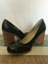 OH DEER ASHLEY NEW 9.5M BLACK PATENT LEATHER ROUND TOE WOOD CHUNKY HIGH HEELS