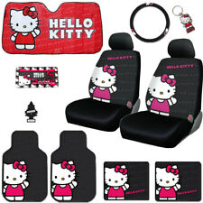 10PC HELLO KITTY CORE CAR SEAT COVERS F+R MATS AND ACCESSORIES SET FOR KIA