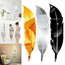 3D DIY Removable Feather Mirror Decal Vinyl Art Stickers Wall Decor Home Room