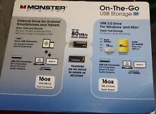 Monster Drive-Phone&Tablet- External Drive-16GB-Value Pack of 2-USB 3.0-Sealed