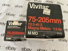 Vivitar match set zoom and multiplier/macro, 75-205mm, M/MD Minolta mount