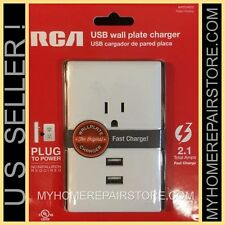 US SELLER!—FREE S&H! RCA—DUAL USB—WALL PLATE 2.1 AMP FAST CHARGER—4 ALL DEVICES!