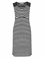 Per Una dress M&S navy white stripe stretchy jersey shift summer  lace 8 - 16
