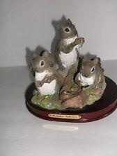 Montefiori Collection Figurines Squirrels Statue Wooden Base